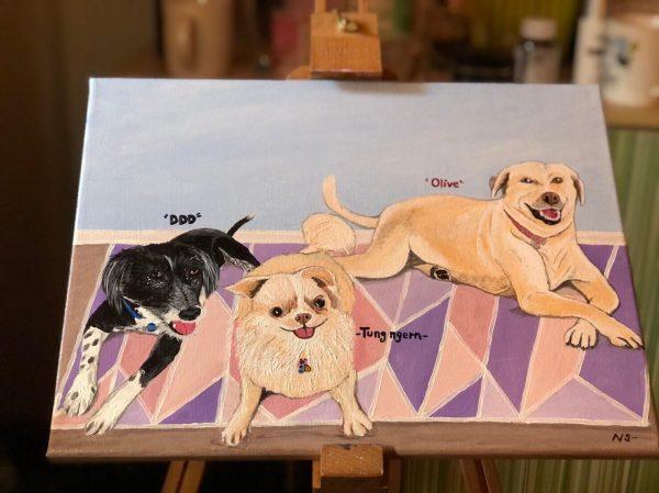 วาดรูปสุนัข 3 ตัว